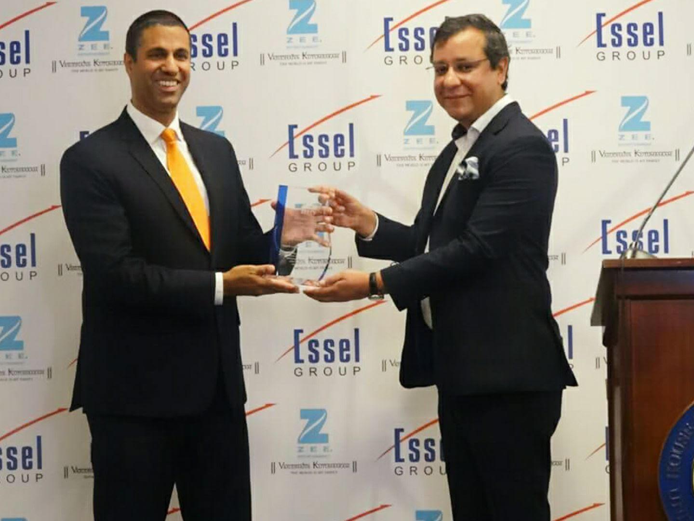 Ajit Pai getting the inaugural Zee award
