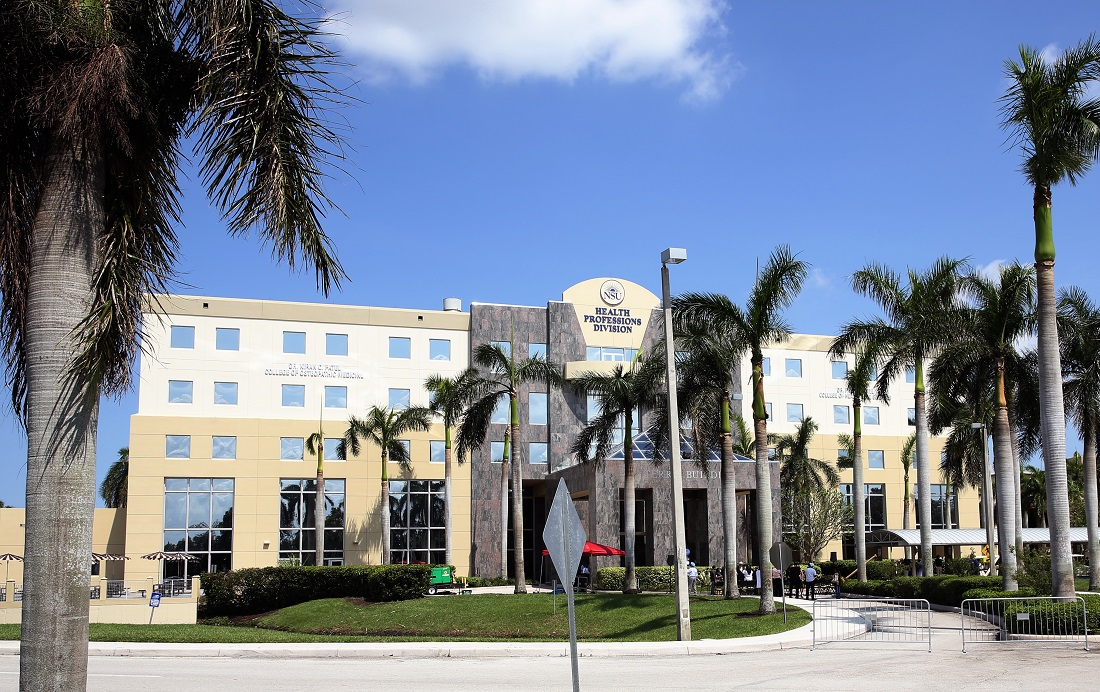 The NSU Health Professions Division building that houses the newly renamed Dr. Kiran C. Patel College of Osteopathic Medicine and Dr. Pallavi Patel College of Health Care Sciences.