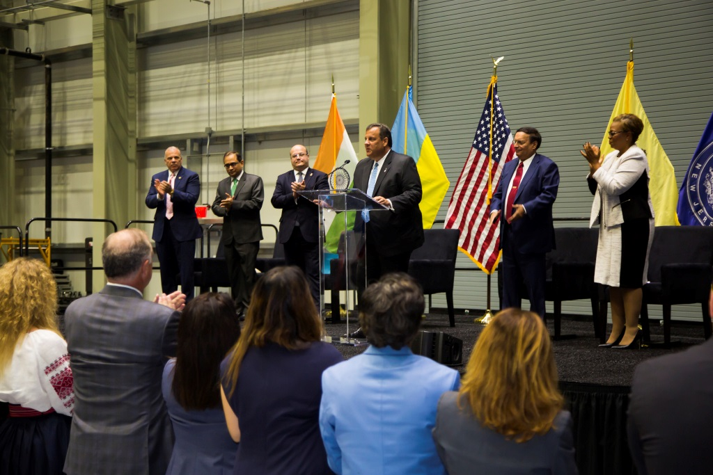 New Jersey Gov. Chris Christie speaking at the ribber-cutting ceremony of Holtec International's new Singh Nuclear Technology Campus in Camden, NJ, on September 15, 2017.