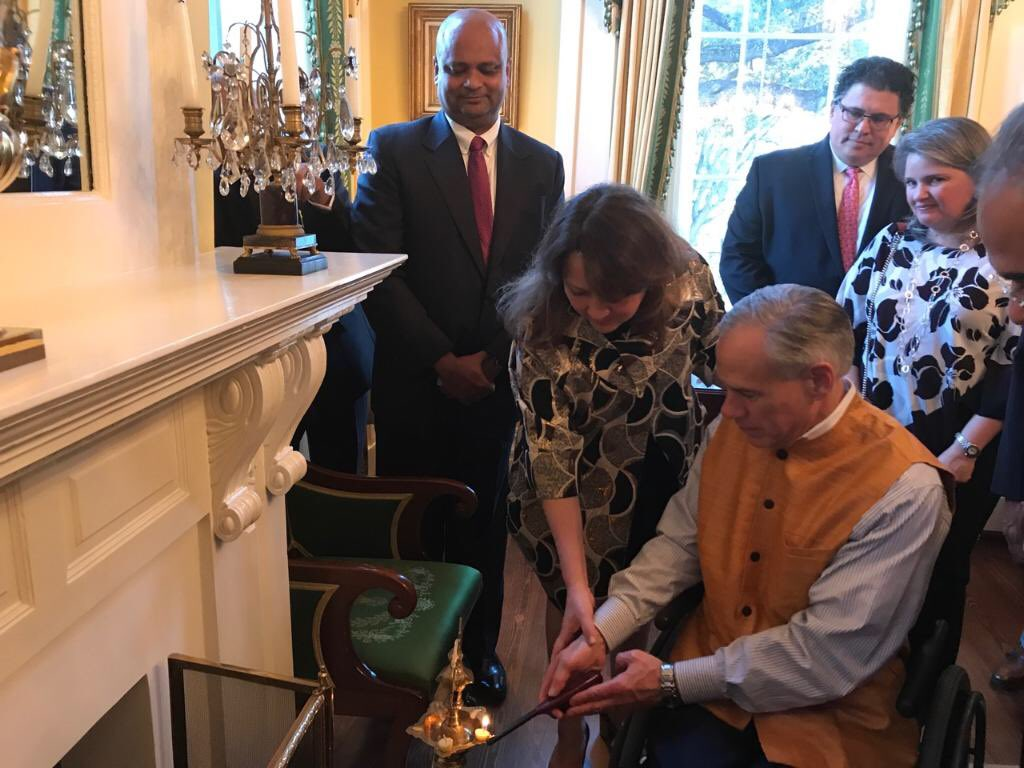 Gov. Greg Abbott during Diwali celebrations