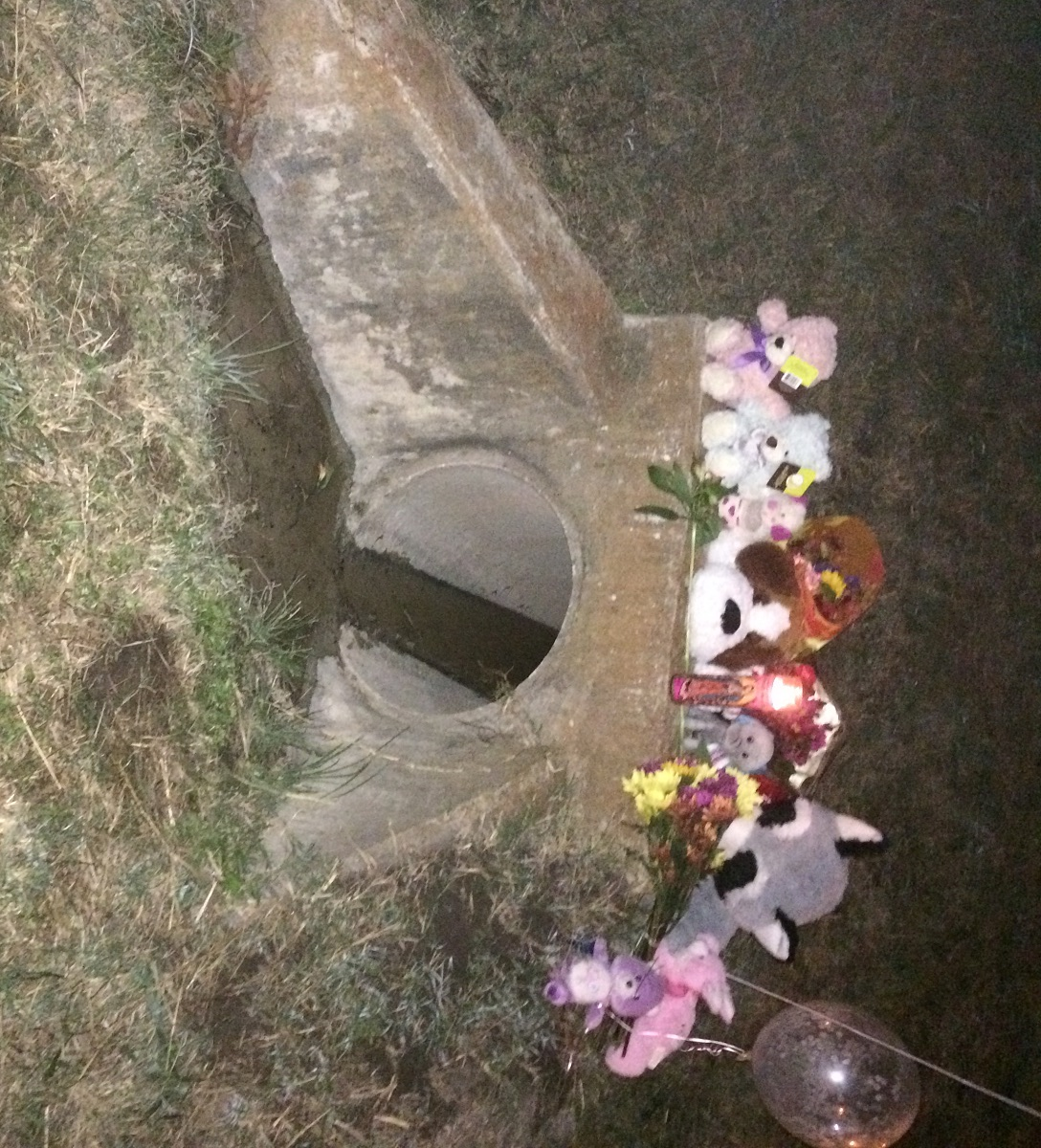People have placed flowers at the Richardson, TX, culvert, where the body of a toddler that appears to be of Sherin Mathews was found on Sunday.
