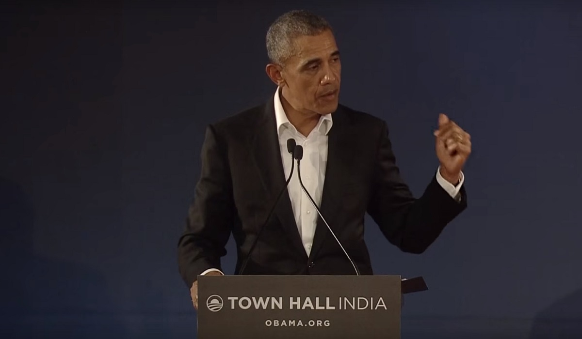 President Obama speaking at a townhall in Delhi.