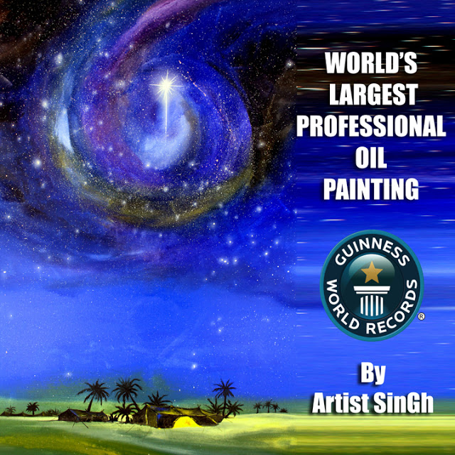 """Indian American Gurmej Singh's """"Star of Bethlehem"""" sets the world record for largest oil painting"""