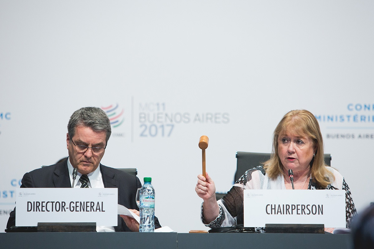 WTO Director General Roberto Azevedo (left) and conference chair and Argentine minister Susana Malcorra at the closing ceremony of the 11th World Trade Organization ministerial talks in Buenos Aires December 13, 2017.
