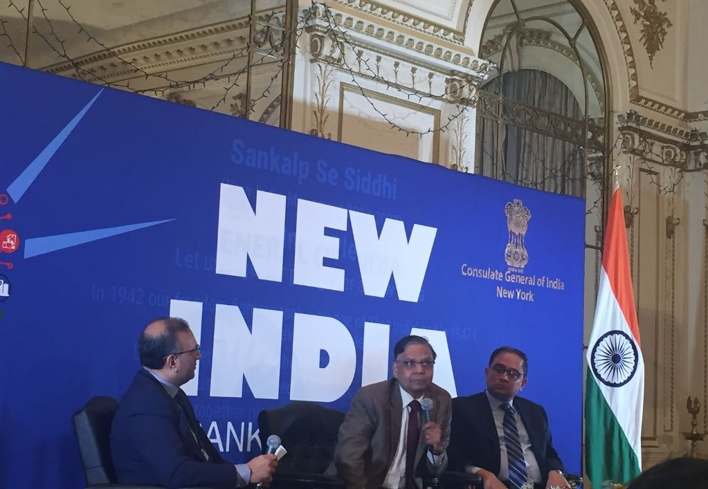 Prominent economist Arvind Panagriya (center) delivering the inaugural New India Lecture Series in New York on January 22.