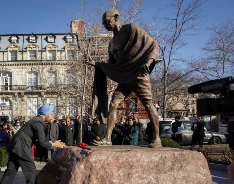 Indian Ambassador to the United States Navtej Sarna paying floral tributes at the statue of Mahatma Gandhi at a Republic Day event in Washington, DC, on January 26, 2018.