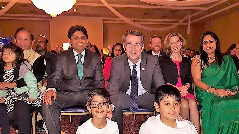Gov. Ralp Northam (center) at the Republic Day event in Richmond. Also seen are Pramod Amin (left), Sanjay Mittal (second from left), First Lady Pamela Northam (second from right( and Sunita Gupta.