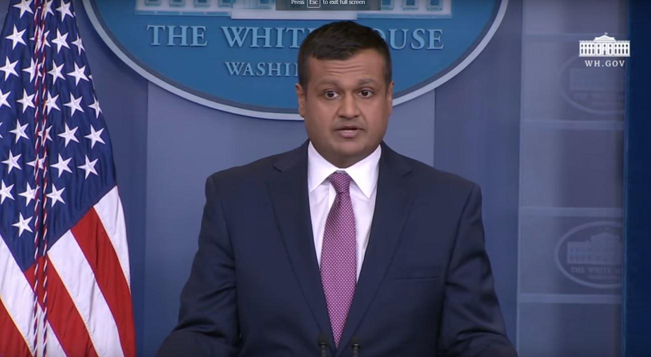 Deputy White House Press Secretary Raj Shah at his maiden White House briefing on February 8, 2018.