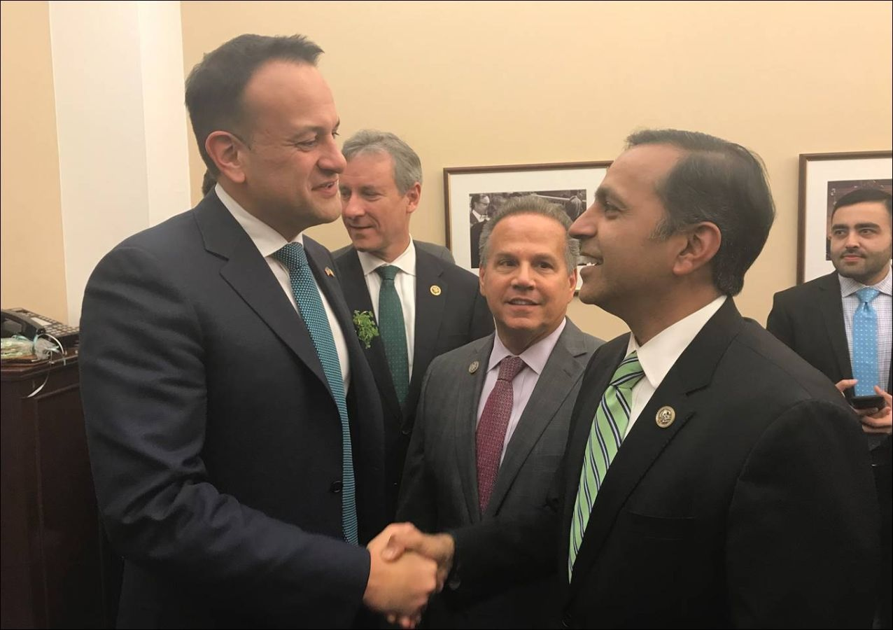 Raja Krishnamoorthi (left) meets with Leo Varadkar in Washington on March 15, 2018.
