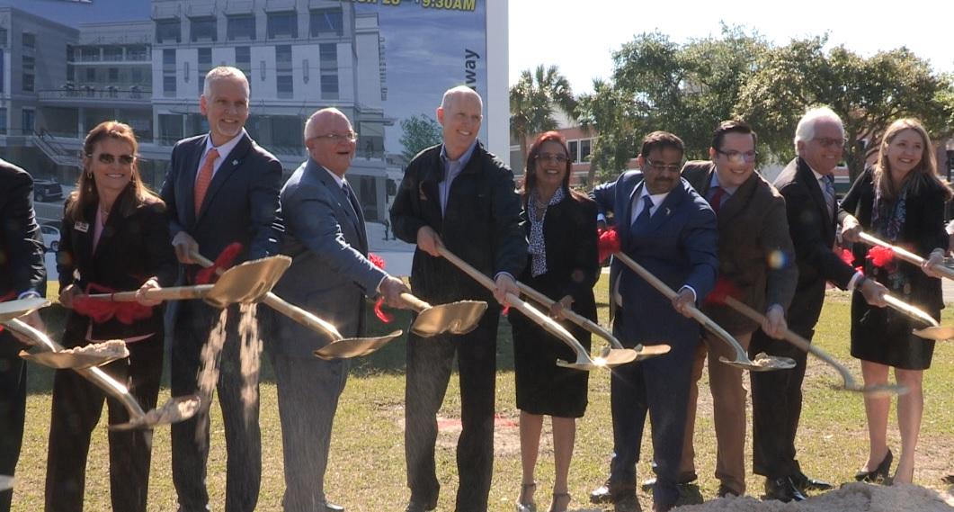Florida Gov. Rick Scott (sixth from right) at the ground breaking a new hotel being constructed by Indian American Danny Gaekwad (fourth from right) in Ocala, FL, on March 23, 2017.