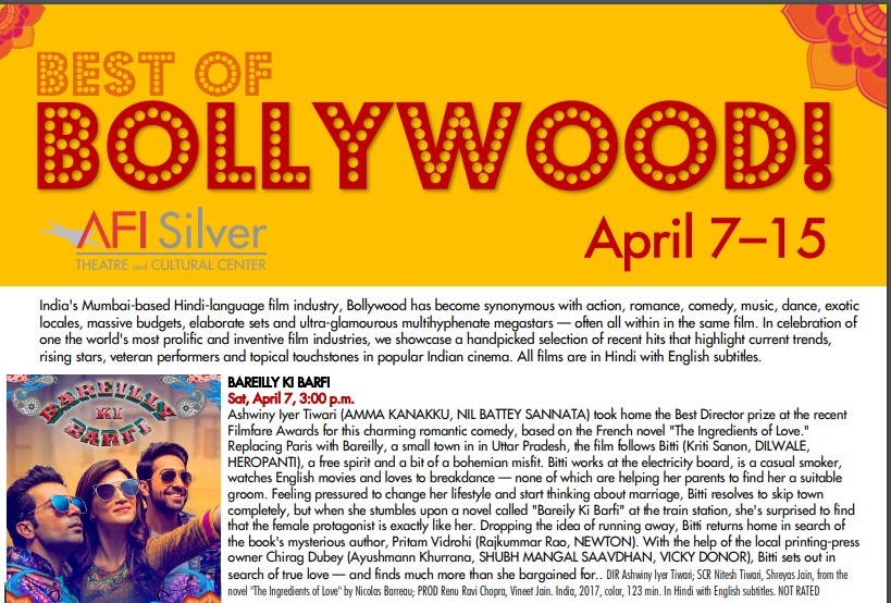 'Best of Bollywood' film series in Montgomery County from April 7 to 15