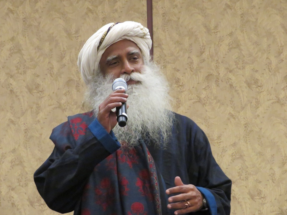 Indian yogi Sadhguru delivering a talk on 'Ambition to Vision' at the Capitol Hill Visitors Center. The event was organized by the US-India Strategic Partnership Forum (USISPF) headquartered in Washington, DC.