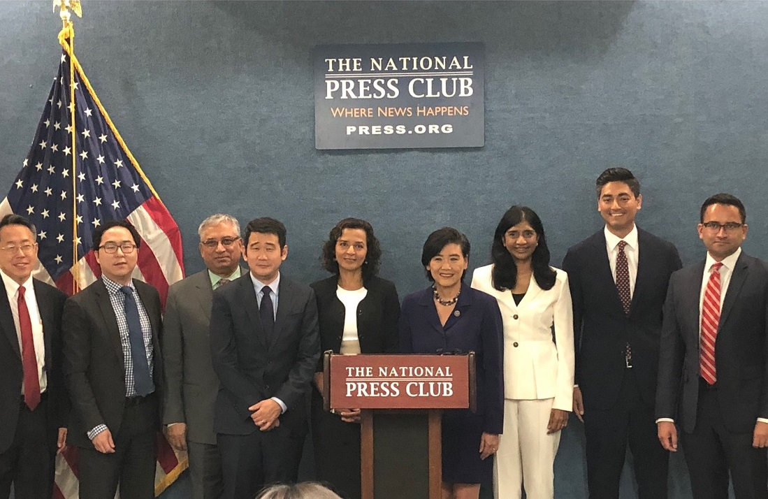 AAPI leaders and candidates at an event in Washington, DC, where they announced the launch of a Clearinghouse, on May 15.