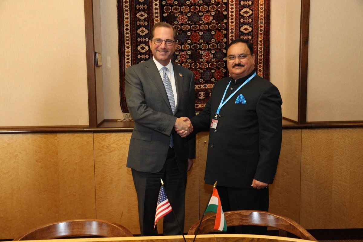 Department of Health & Human Services Alex Azar (left) with India's Minister of Health and Family Welfare J.P. Nadda in Geneva.
