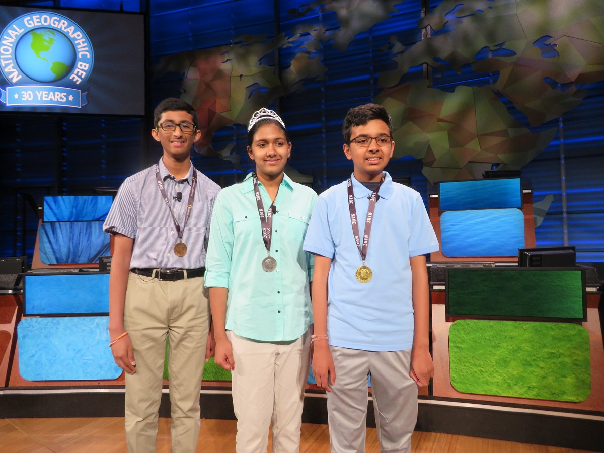 Winners of the 2018 National Geographic Bee, from right to left: Venkat Ranjan, 13 of California, the champion; Anoushka Buddhikot, 13, of New Jersey in second place; and Vishal Sareddy, 14, of Georgia in third position