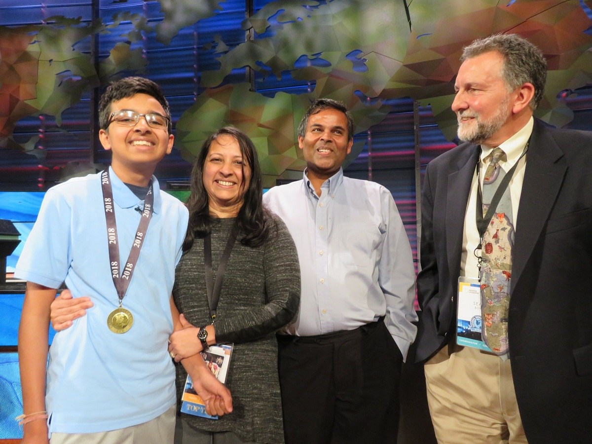 Venkat Ranjan, 13, of California was named champ of the 2018 National Geographic Bee. He is seen here with his parents -- mother Chinmayee Raman and father Amiya Ranjan