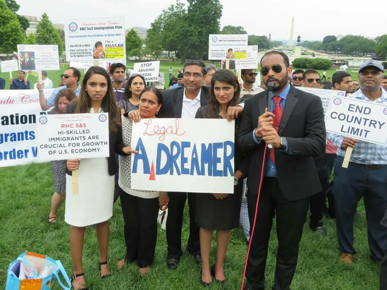 Janvi Mehta, an aged out DALCA kid, is seen with her parents and sister at left, at an immigration rally on Capitol Hill urging US lawmakers to pass legislation protecting the legal Dreamers