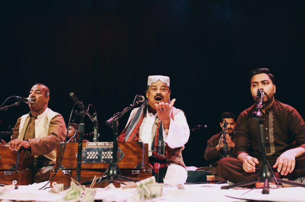 Qawwals Fareed Ayaz (center) and Abu Muhammad (left) performing at Warner Theater in Washington, DC,