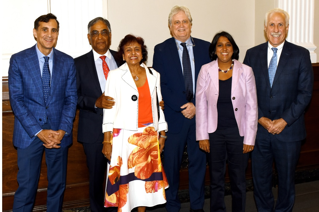 Gupta (second from left), with wife Kamla (third from left) and daughter Amita Gupta (second from right) at the dedication ceremony of the Raj & Kamla Gupta Professor of Infectious Diseases at Johns Hopkins University in Baltimore on September 5. Others seen are the inaugural recipient Robert Bollinger (third from right), Johns Hopkins University President Ronald Daniels (left) and Dr. Paul Rothman, Dean of the Johns Hopkins School of Medicine (right).