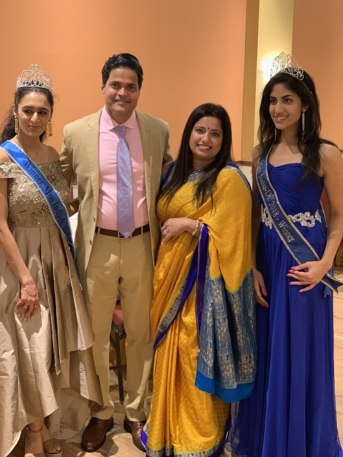 From left to right, Miss India DC 2017 Pooja Ganesh, Anand Poojary, Sumita Poojary and Miss India DC 2018 Anagha Sreenivas.