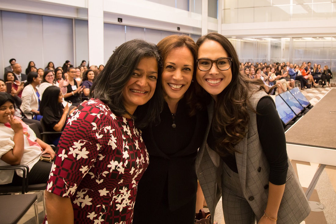 Pramila Jayapal, Kamala Harris and Meena Harris