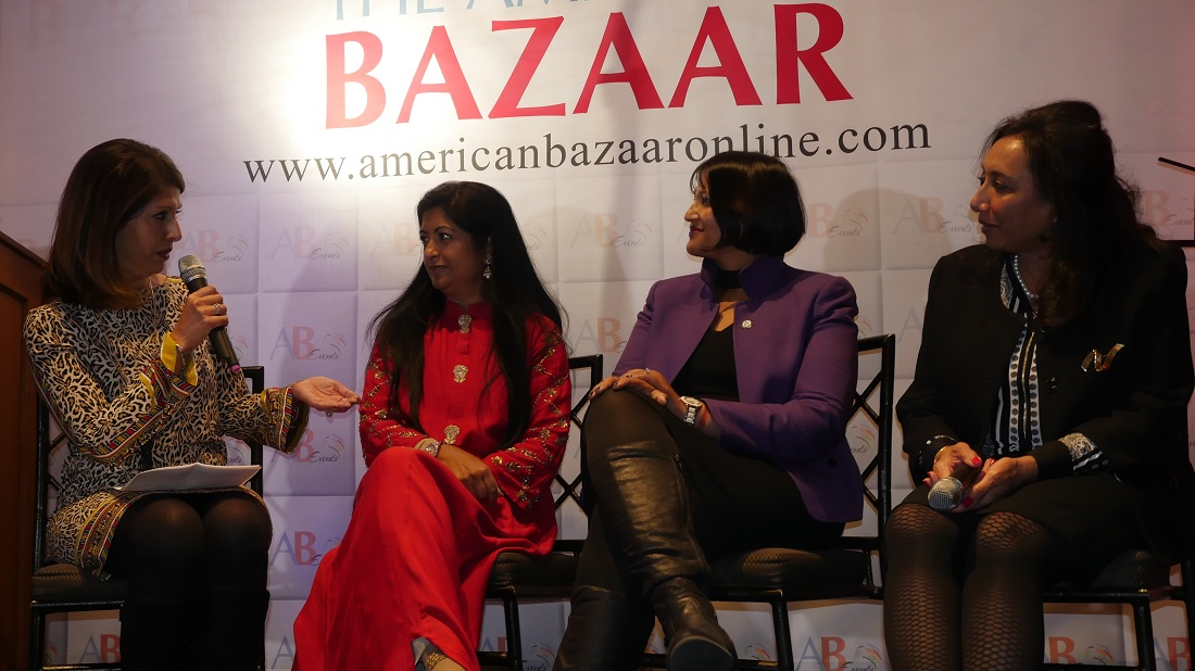 Monika Samtani (left), President of Ms. Media, moderating a panel discussion, featuring Harmonia Holdings CEO Pallabi Saboo (second left), Ampcus CEO Ann Ramakumaran and EnDyna CEO Smita Siddhanti at the American Bazaar Women Entrepreneurs and Leaders Gala in Bethesda, MD, on November 16, 2018.