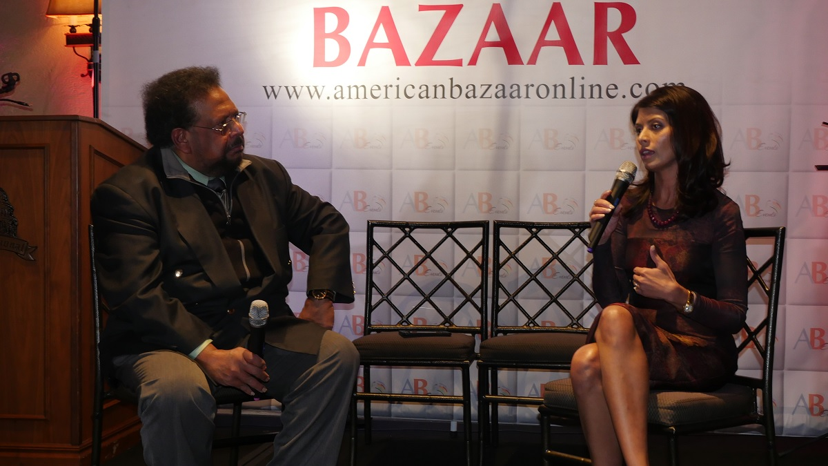 AAHOA Vice Chairwoman Jagruti Panwala, speaking with India Abroad Editor Aziz Haniffa
