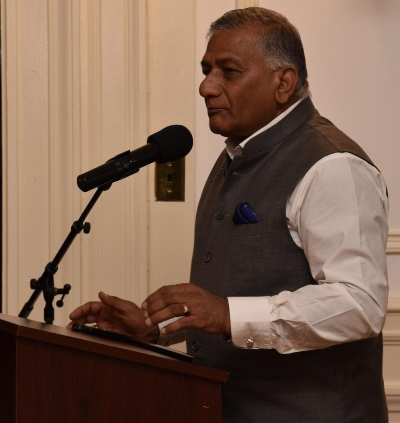 "India's Minister of State for External Affairs Gen. V.K. Singh speaking after inaugurating the ""Passport Seva Project"" at the Embassy of India in Washington, DC,"