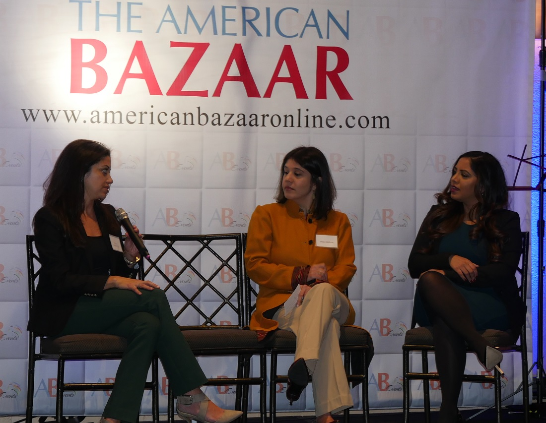 Persis Khambatta (left), a Managing Director at BowerGroupAsia, Tanvi Madan of the Brookings Institution (center) and Rina Shah, Managing Director of Red Fort Strategies, during a panel discussion at the American Bazaar Women Entrepreneurs and Leaders Gala in Bethesda, MD, on November 16, 2018.