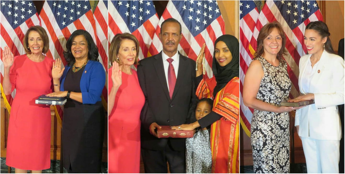 A record 102 women were sworn into the US House of Representatives by House Speaker Nancy Pelosi on January 3, 2019. Shown here, from left to right are: Rep. Pramila Jayapal, the first Indian-American woman elected to the House; Rep. Ilhan Omar, the first Somali-American, a refugee, elected to Congress; and Rep. Alexandria Ocasio-Cortez (far right), the youngest woman ever elected to Congress