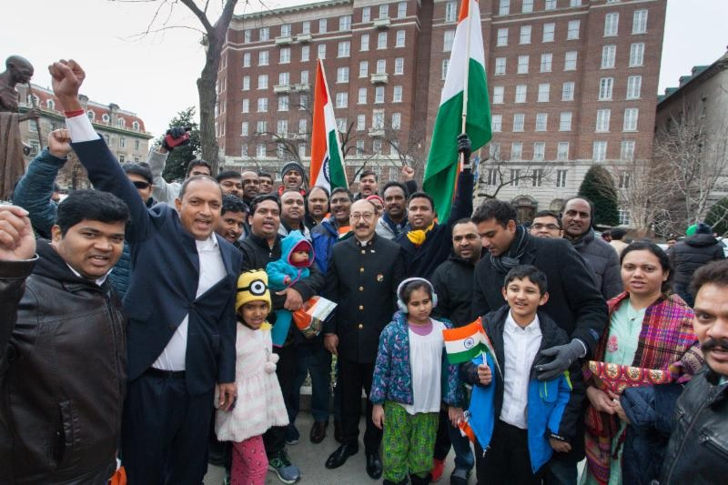 Indian Ambassador to the United States Harsh Vardhan Shringla with Indian Americans at outside the Embassy of India in Washington, on January 26, 2019.