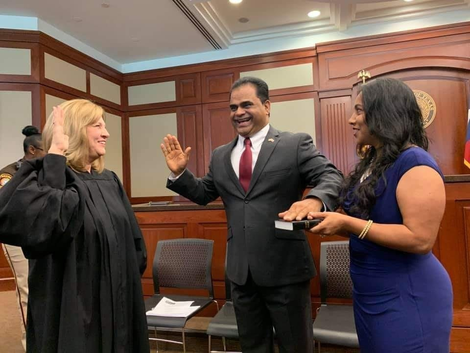 K.P. George being sworn in as the Fort Bend County Judge