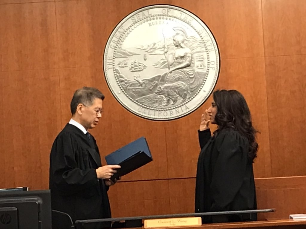 Presiding Judge Garrett L. Wong swearing in Vedica Puri on January 4, 2019. Ima