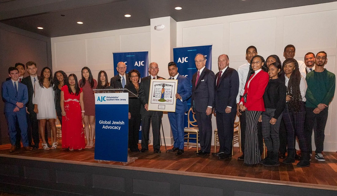 "Dilworth Paxson Chairman and CEO Ajay Raju receiving the ""Learned Hand Award"" from AJC Philadelphia/Southern New Jersey President David Smith at a ceremony in Philadelphia on January 31, 2019."
