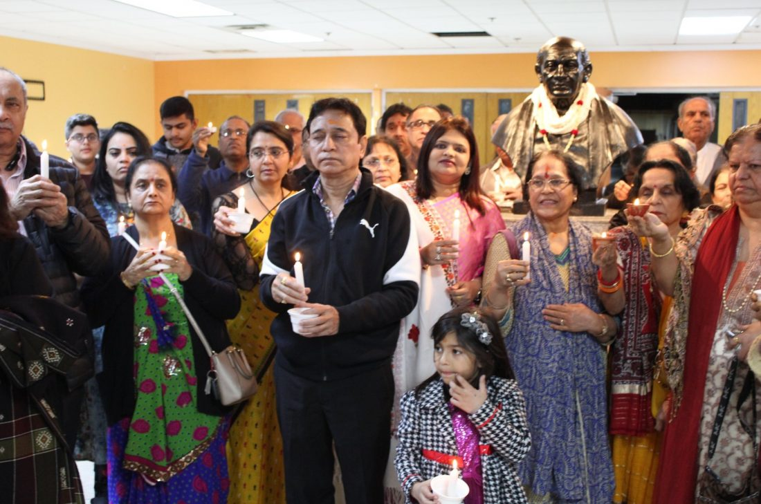 Members of the Gujarati Samaj in Atlanta holding a candlelight vigil at the Sardar Patel Bhavan in Tucker, GA, to pay tributes to victims of the Pulwama attack in India.