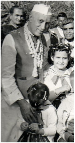 Sister Kay and Colleen at Nehru's birthday party in his New Delhi home in 1958.
