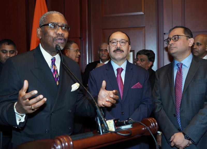 New York Democrat Rep. Gregory Meeks (left) speaking at a Capitol Hill reception for Indian Ambassador to the United States Harsh Vardhan Shringla (center) on February 7. On the right is Consul General of India in New York Sandeep Chakravorty.
