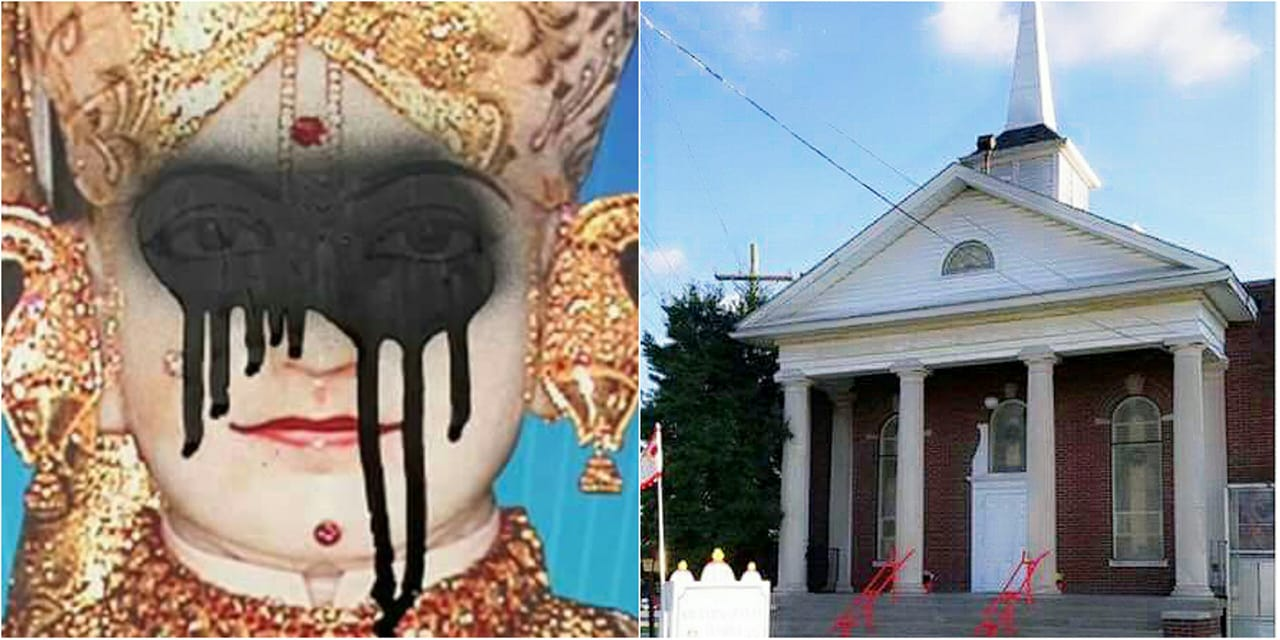 The Swaminarayan Temple in Louisville, Kentucky is vandalized in a hate-motivated act targeting the Hindu community.