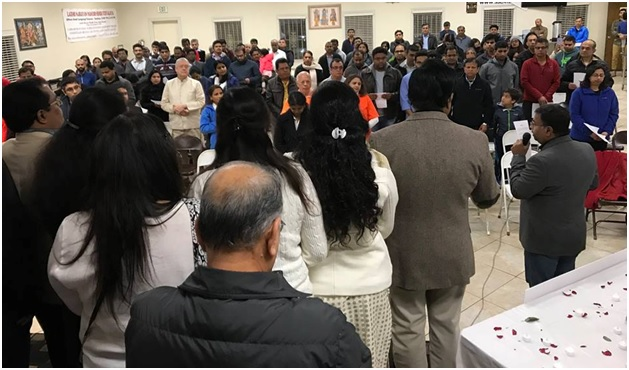 Indian Americans gathered at the Lakshmi Narayan Temple in Sacramento to pay respect to Indian paramilitary soldiers killed in Pulwama on February 14.