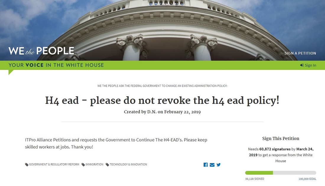 A petition launched on the White House website to save H4 EAD