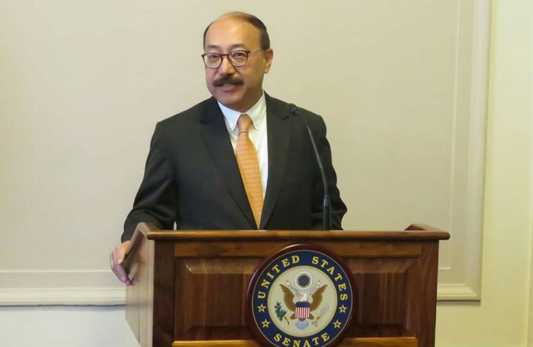 Indian Ambassador Harsh Vardhan Shringla addressing the US-India Friendship Council congressional reception on Capitol Hill.