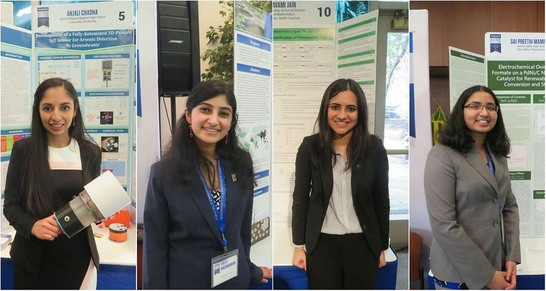 Indian-American STEM advocates, finalists of the 2019 Regeneron Science Talent Search, have developed innovative approaches to address air and water pollution. Seen from left to right are: Anjali Chadha of Louisville, Kentucky; Preeti Sai Krishnamani of Hockessin, Delaware; Navami Jain of Charlotte, North Carolina; and Sai Preethi Mamidala of Garnet Valley, Pennsylvania