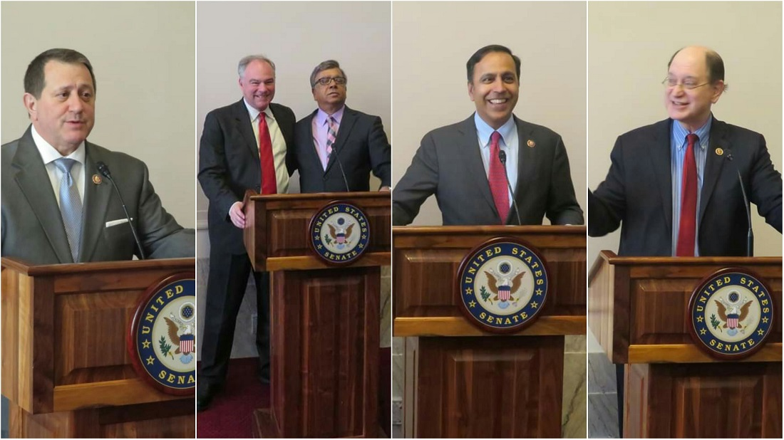 At the US-India Friendship Council (USIFC) congressional reception are seen from left to right: Rep. Joe Morelle (D-NY); Senator Tim Kaine (D-VA); Swadesh Chatterjee, Chairman of USIFC; Rep. Raja Krishnamoorthi (D-IL); and Rep. Brad Sherman (D-CA).
