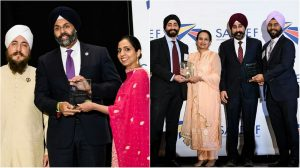 New Jersey Attorney General Gurbir Grewal (left-center) and Hoboken Mayor Ravi Bhalla and his activist wife Navneet Bindya Bhalla (right-center) were conferred with the top awards at the 2019 gala hosted by the Sikh American Legal Defense and Education Fund (SALDEF) in the Washington area