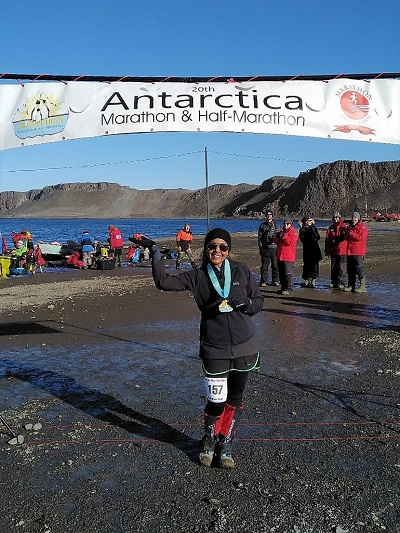 Rupal Ramesh Shah with Antarctica marathon medal