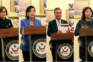 US lawmakers addressing a congressional briefing on the plight of civil immigration detainees. Seen from left to right are: Rep. Suzanne Bonamici (D-OR); Rep. Judy Chu (D-CA); Rep. Mark Takano (D-CA); and Rep. Grace Meng (D-NY). The event, titled 'Detention, Hunger Strikes, Deported to Death' was hosted by South Asian Americans Leading Together (SAALT) in partnership with immigrant justice groups
