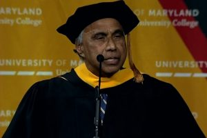 Indian American philanthropist Frank Islam delivering UMUC commencement address in College Park, MD, on May 19, 2019.