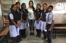 The writer with 9th and 10th grade students at a Bangalore school.
