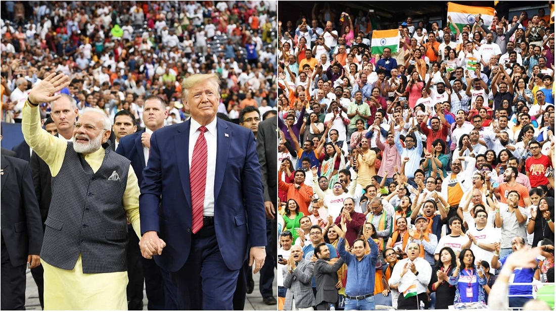 At left: President Donald Trump and Prime Minister Narendra Modi greet the massive crowd at an Indian-American community rally in Houston, Texas, on Sunday, September 22, 2019. At right: a cross-section of the 50,000-plus audience that attended the 'Howdy Modi' event to honor the Indian leader and recognize the stellar contributions of the diaspora