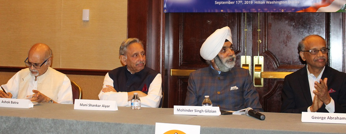 Mani Shankar Aiyar (second left) with IOC USA President Mohinder Singh Gilzian (third from left), Vice Chairman George Abraham (right) DC Chapter committee member Ashok Batra (left)